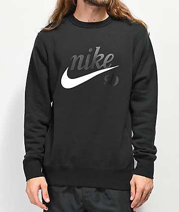 ea29bcf308fe Nike SB Icon Craft Black Crew Neck Sweatshirt
