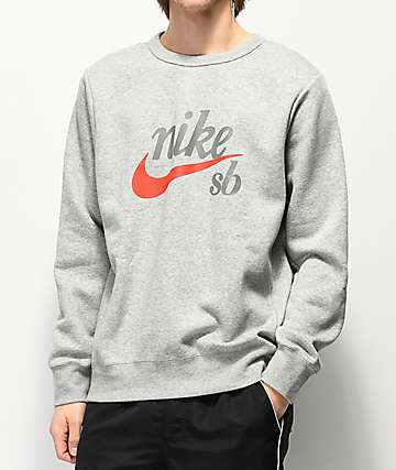 Nike SB Icon Craft Heather Grey Crew Neck Sweatshirt