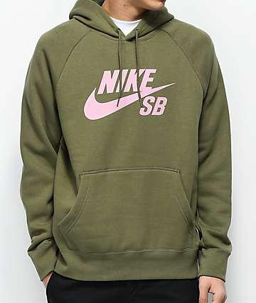Nike SB Icon Dark Green & Pink Hoodie