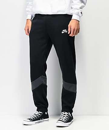 Nike SB Icon Dry Fleece Black & Grey Track Pants
