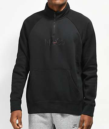 Nike SB Icon Half Zip Black Mock Sweatshirt