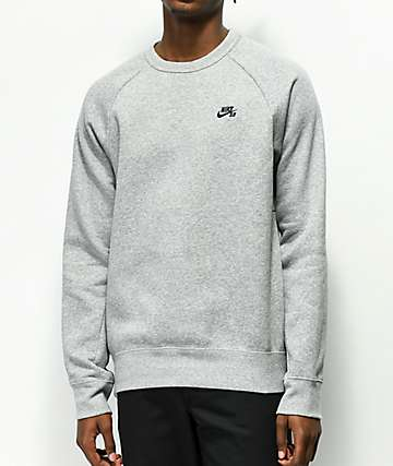 Nike SB Icon Heather Grey Crew Neck Sweatshirt