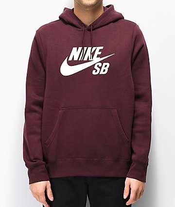 Nike SB Icon sudadera con capucha borgoña