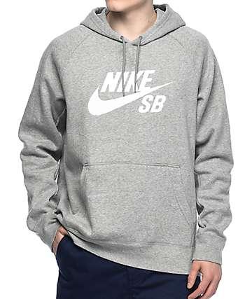Nike SB Icon sudadera con capucha en gris y blanco