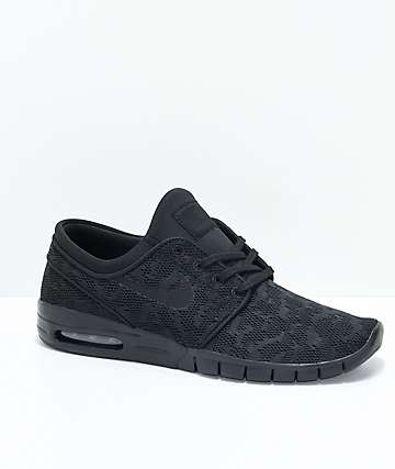 a01cec9b2527 Nike SB Janoski Air Max All Black Skate Shoes
