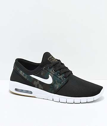 Nike SB Janoski Air Max Black & Camo Mesh Skate Shoes