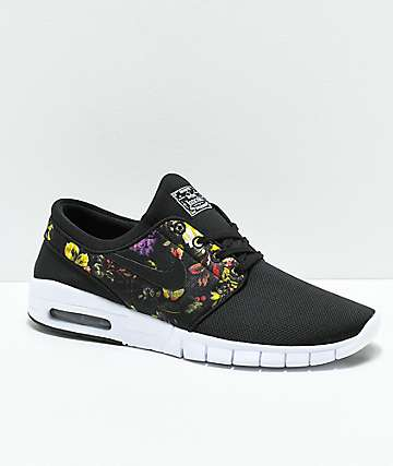 new concept ffad9 654bd Nike SB Janoski Air Max Black   Floral Shoes