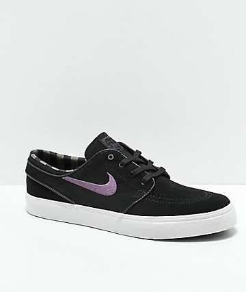 Nike SB Janoski Black, Purple & White Suede Skate Shoes
