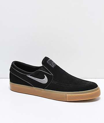 Nike SB Janoski Black & Gum Suede Slip-On Skate Shoes