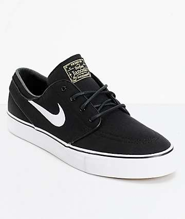 first rate 3604b 4c6e1 Nike SB Janoski Black  White Canvas Skate Shoes