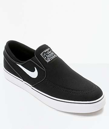 0019e0ff95 Nike SB Janoski Black & White Kids Slip-On Canvas Skate Shoes