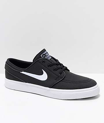 f628ae9d59e048 Nike SB Janoski Black   White Ripstop Canvas Skate Shoes