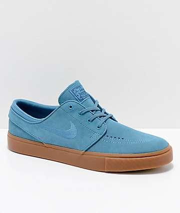 Nike SB Janoski Blue & Gum Suede Skate Shoes