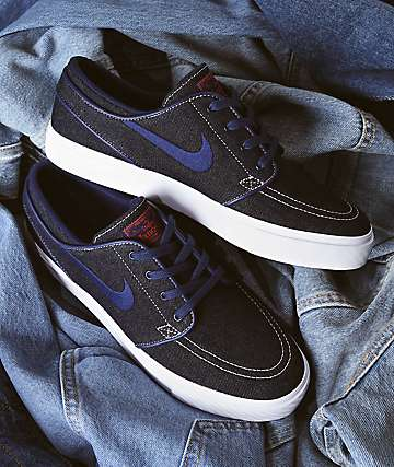 quality design 60aa4 0ee85 Nike SB Janoski Blue Denim Skate Shoes