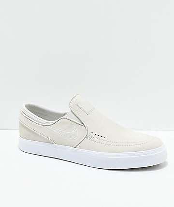Nike SB Janoski Bone & White Slip-On Skate Shoes