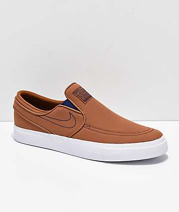 Nike SB Janoski British Tan, Blue & White Canvas Slip-On Skate Shoes