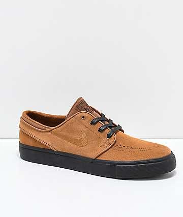 Nike SB Janoski British Tan & Black Suede Skate Shoes