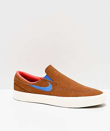 Nike SB Janoski British Tan & White Slip-On Skate Shoes