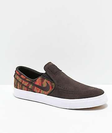 new arrivals 991a6 03f13 Nike SB Janoski Brown, White   Guatemalan Print Slip-On Skate Shoes