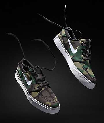 ac0355d2306 Nike SB Janoski Camo   White Canvas Skate Shoes