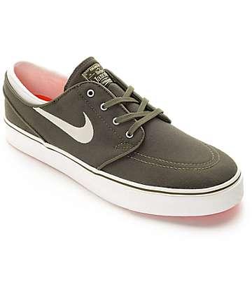 Nike SB Janoski Canvas Dark Green & White Canvas Skate Shoes