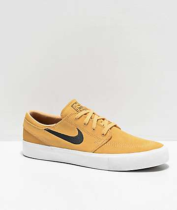 Nike SB Janoski Gold, Anthracite & White Suede Skate Shoes