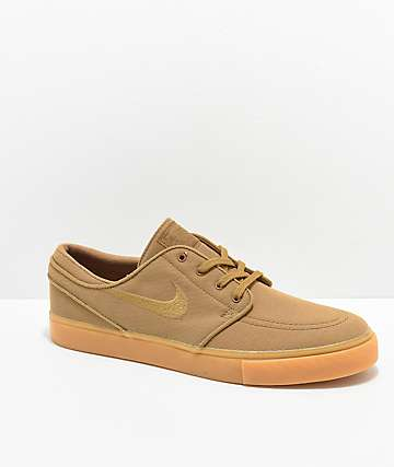 best website 8dbb3 79dfe Nike SB Janoski Golden Beige   Gum Canvas Skate Shoes