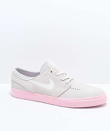 Nike SB Janoski Grey & Bubblegum Pink Suede Skate Shoes