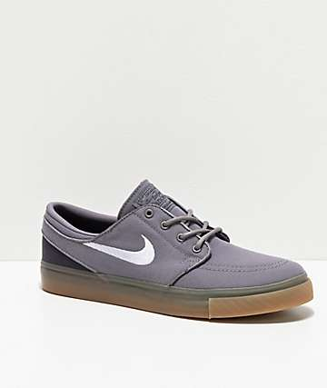 Nike SB Janoski Grey & Gum Canvas Skate Shoes