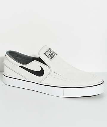 Nike SB Janoski Light Bone & White Slip-On Skate Shoes