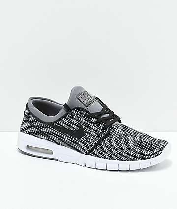Nike SB Janoski Max Gunsmoke Black & White Skate Shoes
