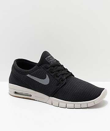 Nike SB Janoski Max Quilted Black & White Skate Shoes