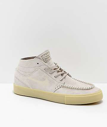 Nike SB Janoski Mid Crafted Cream & Light Gum Skate Shoes