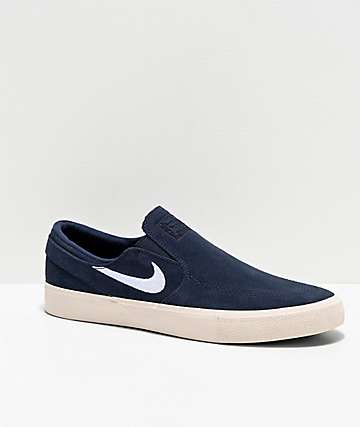 Nike SB Janoski Obsidian Slip-On Suede Skate Shoes