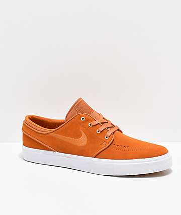 Nike SB Janoski Orange & White Suede Skate Shoes