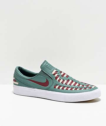 Nike SB Janoski Premium Crafted Green Slip On Skate Shoes