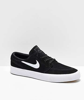 new style 8f3d4 3054f Nike SB Janoski RM Black   White Suede Skate Shoes
