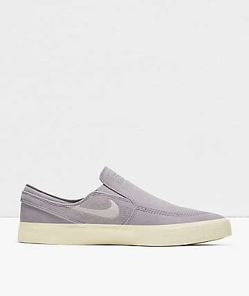 Nike SB Janoski RM Grey & White Slip-On Skate Shoes
