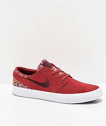 Nike SB Janoski RM Patchwork Cedar Red & White Skate Shoes
