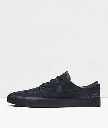 Nike SB Janoski RM Premium Dark Obsidian, Crimson & Black Skate Shoes