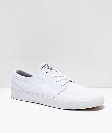 huge discount 08063 bba3a Nike SB Janoski RM White Canvas Skate Shoes