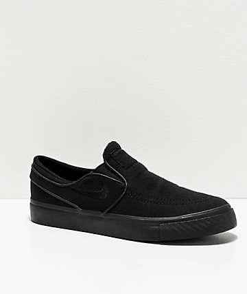 Nike SB Janoski Slip-On All Black Skate Shoes