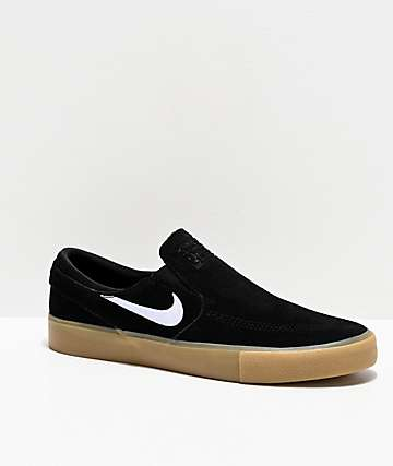 Nike SB Janoski Slip-On RM Black & Gum Suede Skate Shoes