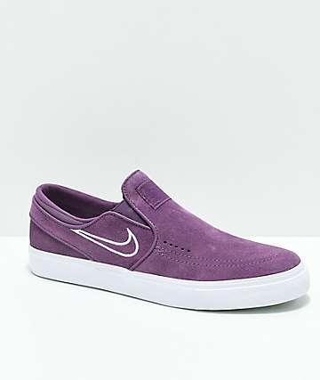 Nike SB Janoski Slip-On zapatos de skate morados y blancos