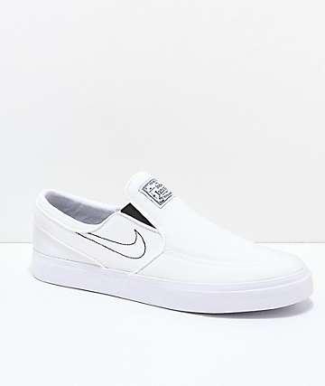 Nike SB Janoski Slip-On zapatos skate de lienzo blanco
