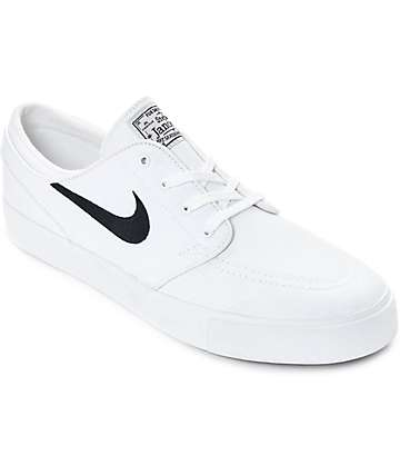 Nike SB Janoski White & Obsidian Canvas Skate Shoes