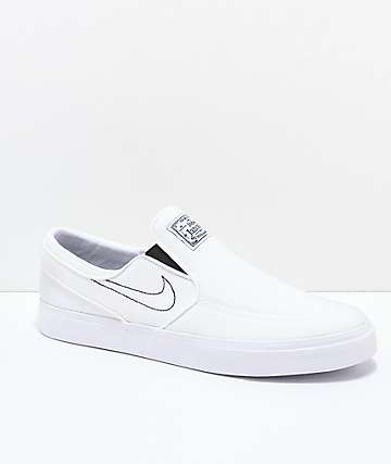 Nike SB Janoski White Slip-On Canvas Skate Shoes