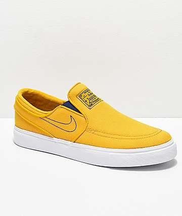 Nike SB Janoski Yellow & White Canvas Slip-On Skate Shoes