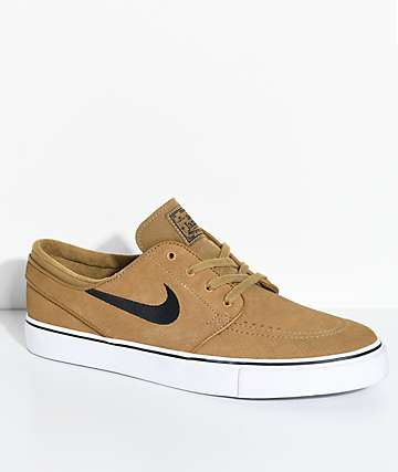 Nike SB Janoski zapatos de skate de ante en blanco y marrón