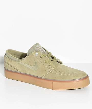 Nike SB Janoski zapatos de skate de goma y ante en verde oliva